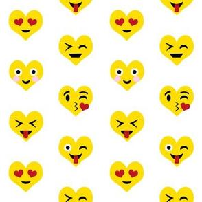 valentines day emoji love fabric - cute emoji kiss, emoji love, heart eyes fabric, cute emojis design - valentines love - white