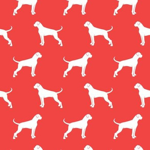 Boxer Dogs on red