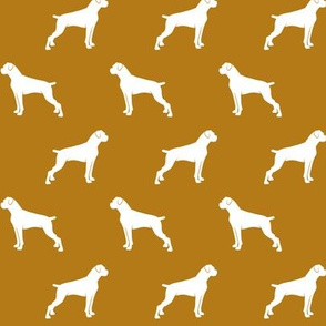 boxer dogs on dark mustard - docked tails