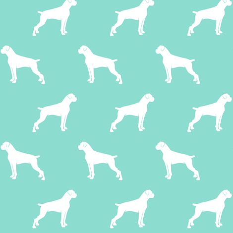 boxer dogs on teal - docked tails fabric by littlearrowdesign on Spoonflower - custom fabric