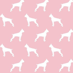 Boxer Dogs on pink - cropped ears & docked tail
