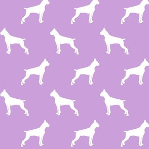 Boxer Dogs on purple - cropped ears & docked tail