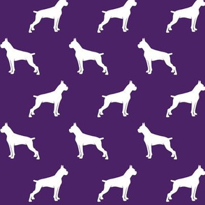 Boxer Dogs on dark purple - cropped ears & docked tail