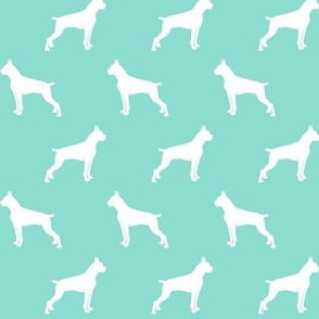 Boxer Dogs on teal - cropped ears & docked tail