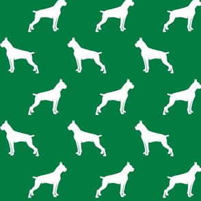 Boxer Dogs on green - cropped ears & docked tail