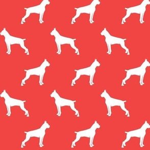 Boxer Dogs on red - cropped ears & docked tail