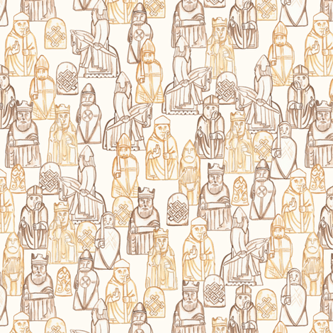 Small Scale Lewis Chessmen fabric by landpenguin on Spoonflower - custom fabric