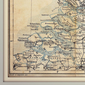 Netherlands map, vintage, XL