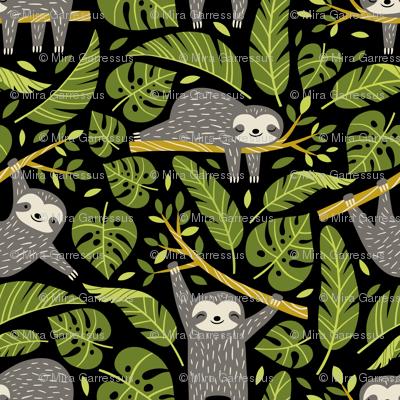 lazy sloths - black, small