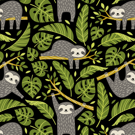 lazy sloths - black, small fabric by mirabelleprint on Spoonflower - custom fabric