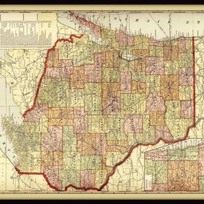 Wisconsin map, vintage, large