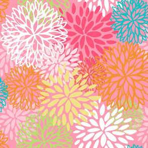 Pop Retro Floral in Bright Pastels