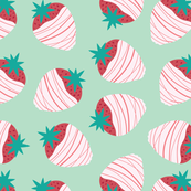 mint strawberries seamless pattern