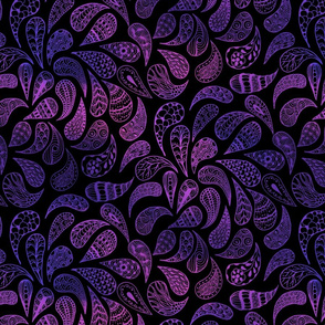 Zen Paisley blue and purple on black