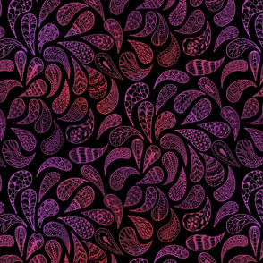 Zen Paisley red and purple on black