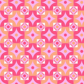 Colorful circles and squares pattern pink