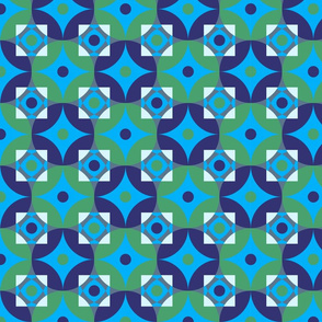 Colorful circles and squares pattern blue
