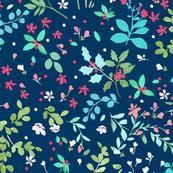 Winter Wildflowers - Navy