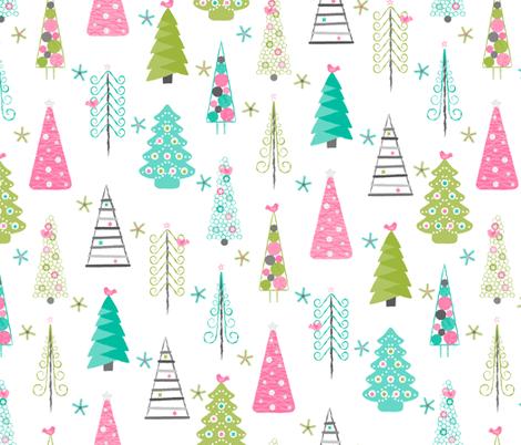 Scandinavian Christmas Trees Modern fabric by wickedrefined on Spoonflower - custom fabric