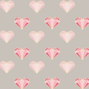 Pink Geometric Hearts - Smaller Version