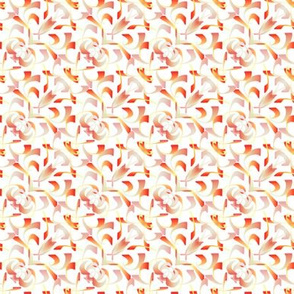 Orange and White Scrolls - Small Scale