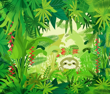 Rspoonflower_-_sloth_in_jungle21x18x150_contest225911preview
