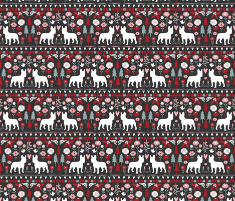 Frenchie Folk  fabric by onelittleprintshop on Spoonflower - custom fabric