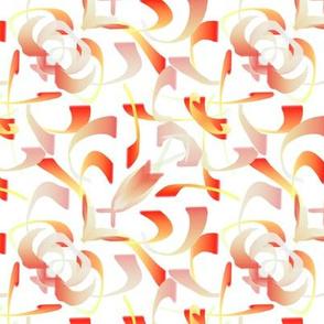 Orange and White Scrolls - Large Scale