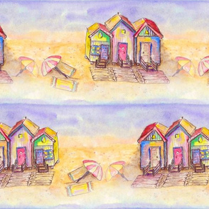 BEACH HUTS  BRIGHT AND SUNNY WATERCOLOR AND INK