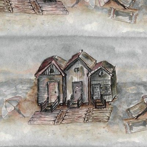 BEACH HUTS  VINTAGE BROWN SEPIA GRAY WATERCOLOR AND INK