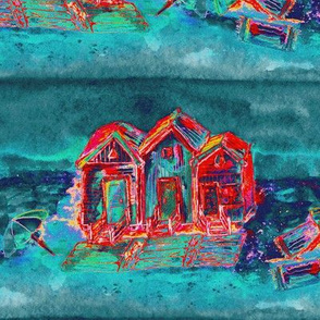 BEACH HUTS CARRIBEAN TURQUOISE TEAL RED ULTRAMARINE WATERCOLOR AND INK