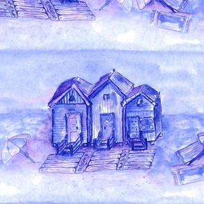 BEACH HUTS LAVENDER PERIWINKLE BLUE PINK WATERCOLOR AND INK