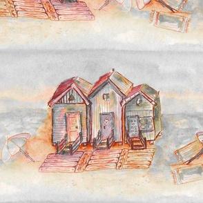 BEACH HUTS VINTAGE  ORANGE RED BRICK WATERCOLOR AND INK