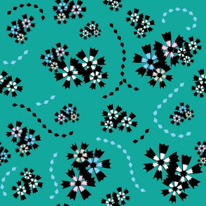 Japanese Flowers on teal