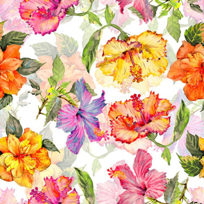 "18"" Tropical hand drawn colorful hibiscus flowers, hibiscus fabric,"