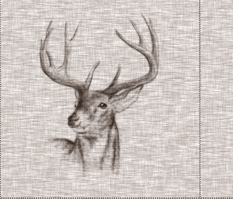"""18"""" Rustic Buck Pillow with Cut lines fabric by sugarpinedesign on Spoonflower - custom fabric"""