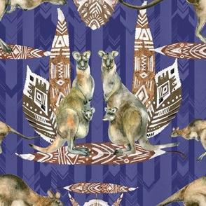 SMALL KANGAROO BROWN ON CHEVRONS ARROWS PERIWINKLE BLUE