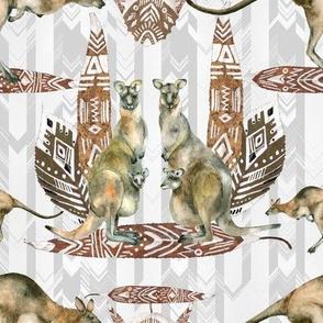 Small KANGAROO NATURAL  ON LIGHT GREY CHEVRONS ARROWS watercolor