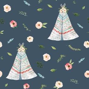 "8"" Woodland Floral Teepee // Fiord"