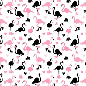 Flamingos Ice Skating Pink and Black