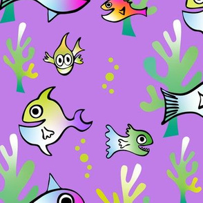 Watercolor Funny Fish on Purple