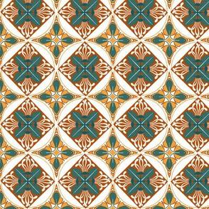 Art Nouveau Wallflowers Diamonds - autumn palette