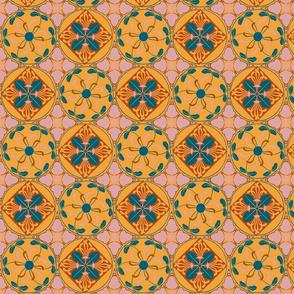 art nouveau wallflower checker - autumn palette