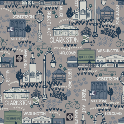 Village of Clarkston - Gray fabric by justcallmecameron on Spoonflower - custom fabric