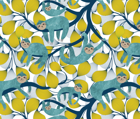 Sloths in Action fabric by vo_aka_virginiao on Spoonflower - custom fabric