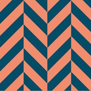 Navy and Salmon Herringbone