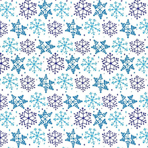 Snowflake Pattern Blue on White