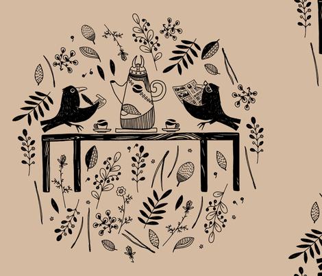 Huginn and Muninn fabric by tanistaja on Spoonflower - custom fabric