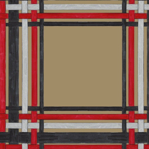 Red, Black and Silver Plaid on Camel