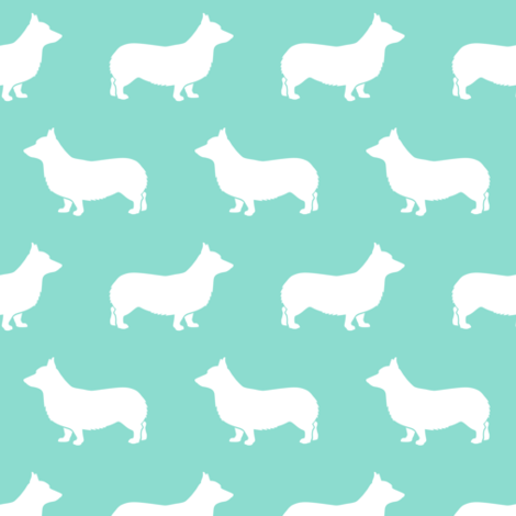 Corgi Silhouette - teal fabric by littlearrowdesign on Spoonflower - custom fabric